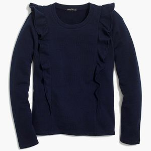J. Crew Ruffle Crew Neck Navy Pullover Sweater